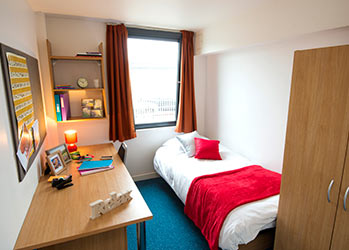 Student bedroom in Voyager House, accommodation for international students at Bellerbys College Brighton