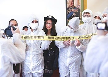 Bellerbys College students on an enrichment Crime Scene Investigation activity