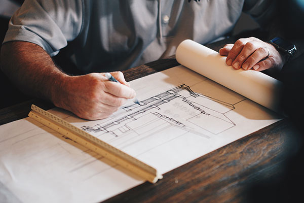 An architect working on a project