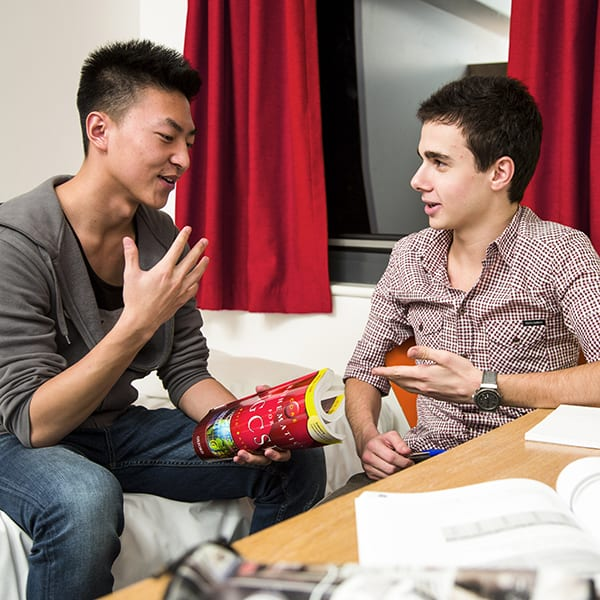 Two international students in the student accommodation at Bellerbys College in Brighton